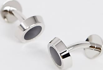 BOSS Gemelli rotondi argento e nero con logo