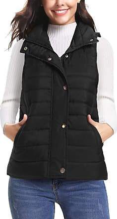 iClosam Womens Sleeveless Coat Stand Collar Lightweight Vest Gilet Puffer Zip Quilted Jacket Black