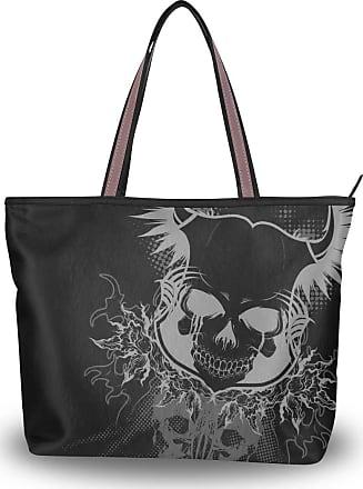 Lorona Women Creepy Skull Canvas Shoulder Hand Bag Large Capacity Tote Bag