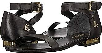 8ff3451129cd Ralph Lauren Lauren Ralph Lauren Womens Davison Flat Sandal Black 10 B US