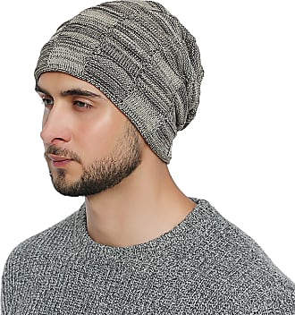 DonDon mens Warm Winter Beanie Slouch tube design modern knitted beanie with extra soft inner lining - Beige Black