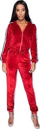Momo & Ayat Fashions Ladies Velour Stripe Jacket & Jogger Lounge Suit UK Size 6-14 (Red, UK 12 (EUR 40))