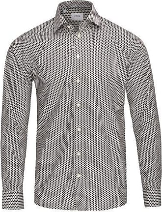 Eton Micro Polka Dot Shirt Schwarz Weiß - 16.5
