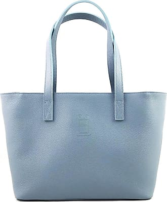 Comembreisd Woman Handbag 42cm in dusty blue leather designed and handmade in Italy