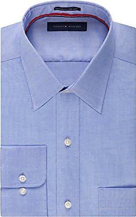 f024b94d Tommy Hilfiger Mens Non Iron Regular Fit Point Collar Dress Shirt, Blue, 16  Neck