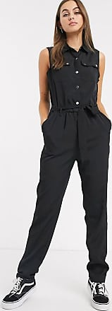 Noisy May Julie sleevless tie waist utility boilersuit-Black