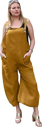 Love my Fashions Womens Button Detail Jumpsuit Ladies Plain Linen Casual Sleeveless Loose Fit Two Front Pockets Dungaree Trouser Summer Plus Size Mustard Yellow
