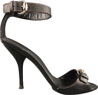 934099869323 Gucci Size 12 Black Leather Ankle Strap Gold Buckle Sandals
