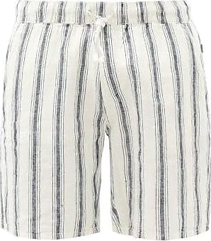 Onia Noah Striped Linen Shorts - Mens - Navy Multi