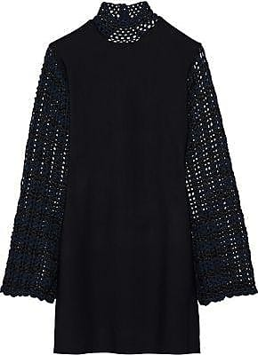 Opening Ceremony Opening Ceremony Woman Open-back Crochet-paneled Stretch-knit Mini Dress Black Size XS