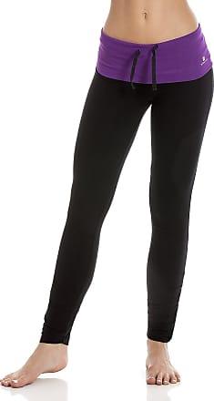 Camille Ex Highstreet Womens Purple Waistband Black Ruched Full Length Leggings XS