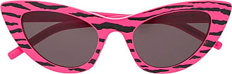 Saint Laurent Eyewear Óculos de sol gatinho com estampa de zebra - Rosa