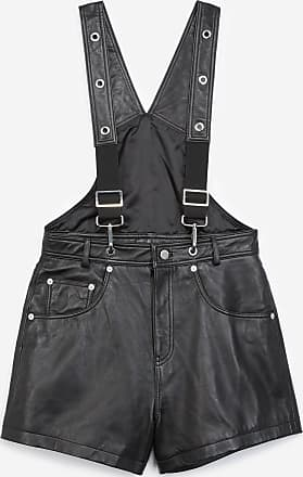 The Kooples Dungaree-style black leather playsuit - WOMEN
