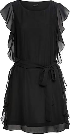5e4d4d29 Bodyflirt Dam Chiffongklänning med skärp i svart utan ärm - BODYFLIRT