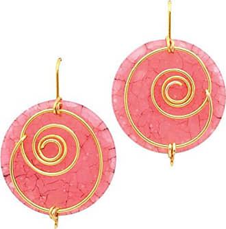 Tinna Jewelry Brinco Dourado Espiral Com Medalha De Resina (Rosa)