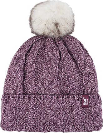 Heat Holders Ladies 1 Pack Heat Weaver Cable Knit Pom Pom Hat - Rose - One Size