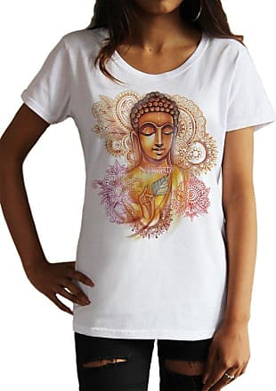 Irony Womens T-Shirt Yoga Top Buddha Namaste Chakra Meditation Zen Hobo Boho Line Art Print TS1052 (Medium) White