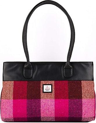 Ladies Authentic Harris Tweed Tote Bag With Shoulder Strap Grey Check COL 69