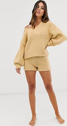 Zulu & Zephyr high waist knitted beach short in oatmeal-Yellow