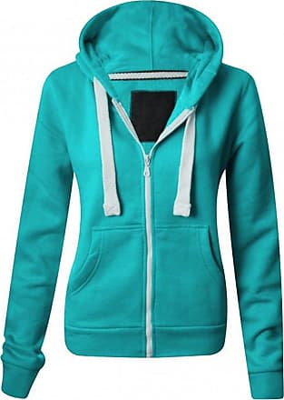 Parsa Fashions Ladies Plain Hoodie Womens Long Sleeves Zip Hoodie Zipper TOP Hooded Jacket with Pockets Warm Soft Comfortable and Stretchy X-Large (UK-14), Mint