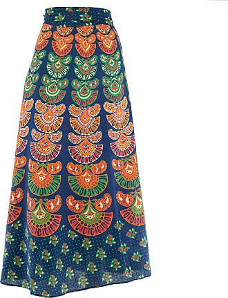 Loud Elephant Long Maxi Wrap Skirt with Block Print Mandala - Blue & Green