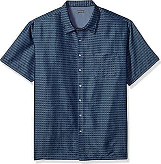 Van Heusen Mens Big and Tall Air Short Sleeve Button Down Poly Rayon Print Shirt, Blue Infinity, 2X-Large