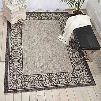 Nourison Garden Party GRD03 Ivory/Charcoal Indoor/Outdoor Area Rug 5 Feet 3 Inches by 7 Feet 3 Inches, 53X73