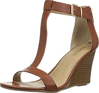 Kenneth Cole Reaction Womens 7 Ava Crave T-Strap Wedge Sandal, Toffee, 8.5 M US