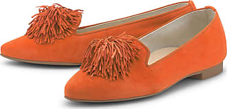 Paul Green 2376-10 Orange Velour Suede Leather Womens Slip On Shoes 5.5