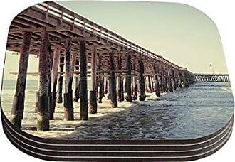 KESS InHouse Bree MaddenVentura Pier Coasters, 4 by 4-Inch, Brown, Set of 4