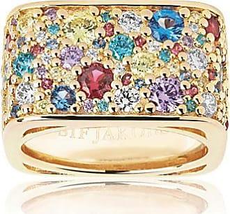 Sif Jakobs Jewellery Ring Novara Quadrato - 18K vergoldet mit bunten Zirkonia