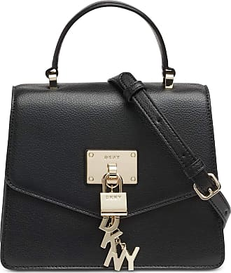 DKNY Elissa Mini Satchel Handbag in Black Leather with Removable Cross Body/Shoulder Strap