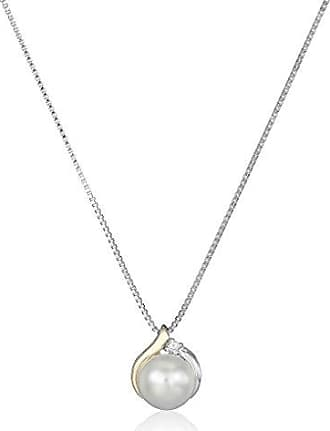 Amazon Collection Sterling Silver and 14k Yellow Gold Freshwater Cultured Pearl Diamond Accent Pendant Necklace (8mm), 18