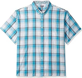 Van Heusen Mens Big and Tall Never Tuck Short Sleeve Button Down Shirt, Aqua Blue Moon, 3X-Large Tall