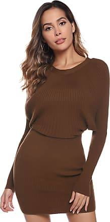 Aibrou Women Round Neck Jumper Dress,Long Sleeve Soft Warm Vintage Knit Stretchable Elasticity Slim Fit Sweater Body Con One Piece Dress(Brown L)