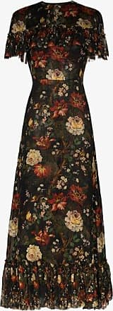 The Vampires Wife Womens Black The Frill Seeker Silk Floral Dress