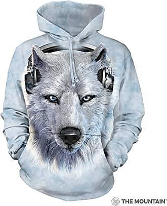 The Mountain White Wolf Dj Hsw Adult Hoodie, Grey, XL