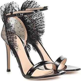 Gianvito Rossi Sandalen aus Tüll und Lackleder
