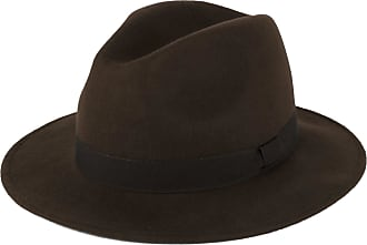 Hat To Socks Wool Fedora Hat with Grosgrain Band Handmade in Italy (Brown-Dark Brown Band, S (55cm))