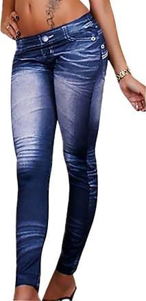 QIYUN.Z Qiyun Ladies Graffiti Demin Blue Jeggings Pants Leggings Pencil Slim Jeans Tights Trousers Blue