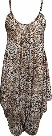 Islander Fashions Womens Printed Lagenlook Romper Jumpsuit Ladies Sleeveless V Neck Harem Dress Brown Leopard Print XXX Large UK 22-26