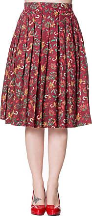 Banned Retro Vintage Christmas Candy Cane Autumn Leaves Skirt - Burgundy/UK-16