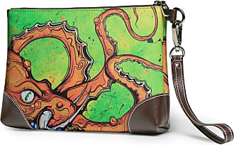 GLGFashion Womens Leather Wristlet Clutch Wallet Colorful Cute Octopus Storage Purse With Strap Zipper Pouch