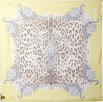 Roberto Cavalli Womens Patterned Silk Scarf, Yellow/Leopard Print