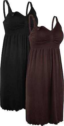 iLoveSIA 2Pack Womens Seamless Maternity Nursing Dress Built in Bra Nightdress for Breatfeeding Black+Coffee Size 3XL
