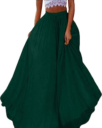 f80524701c Security Women Chiffon Long Skirt Beach Skirt Full/Ankle Length Blending Maxi  Skirts Blackish Green