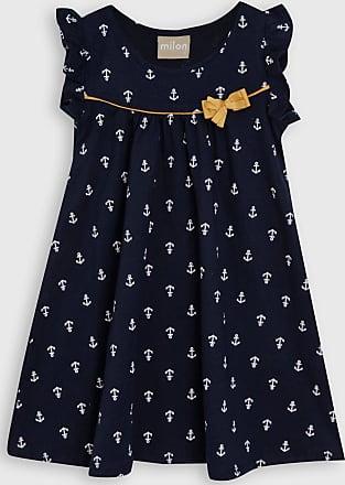 Milon Vestido Milon Infantil Âncoras Azul-Marinho/Dourado