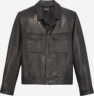 The Kooples Buttoned black leather jacket, notched collar - MEN