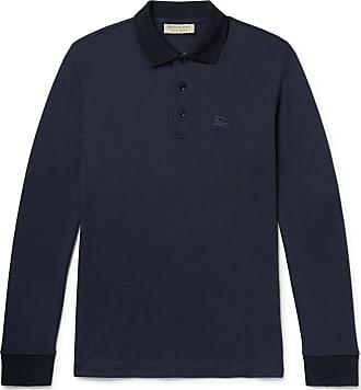 Burberry Embroidered Cotton-piqué Polo Shirt - Navy