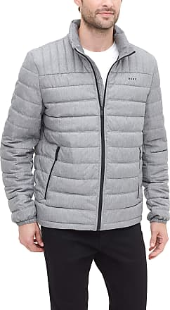 DKNY Mens Water Resistant Ultra Loft Quilted Packable Puffer Jacket Down Alternative Coat, Heather Grey, Large
